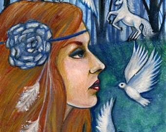 "Print 5 x 7"" Rhiannon, Horse Goddess, Fantasy, pagan art"