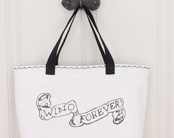 Wino Forever Tote - Johnny Depp Tattoo Tote Bag - Lined Tote Bag with Pocket - MADE TO ORDER