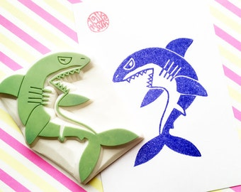 scary shark stamp. angry shark stamp. jaws hand carved rubber stamp. birthday halloween scrapbooking. summer craft. large