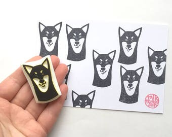 shiba inu rubber stamp. puppy dog hand carved stamp. animal stamp. pet stamp. birthday crafts. scrapbooking. gift for dog lovers