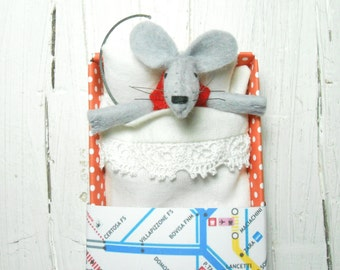 Felt animal stuffed animal mouse birthday kids gift mice in matchbox hand made doll mouse miniature gift for best friends gift under 25