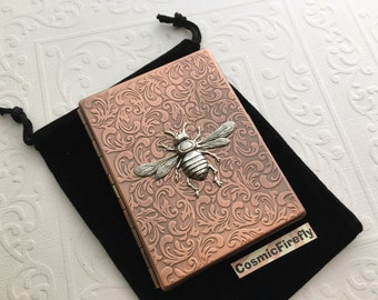 Bee Cigarette Case Rustic Antiqued Copper Case Gothic Victorian Art Nouveau Style Vintage Inspired Copper Steampunk Case Silver Bee