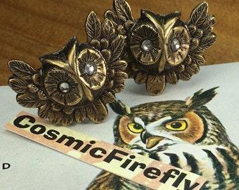 Brass Owl Cufflinks Swarovski Crystal Eyes Gothic Victorian Vintage Inspired Antiqued Brass Owls Cufflinks Steampunk Cufflinks