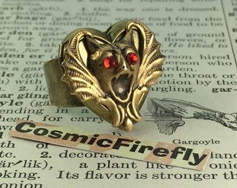 Steampunk Ring Gargoyle Ring Brass Locket Ring Unisex Ring Adjustable Ring Wide Band Men's Ring Woman's Ring Vampire Bat Ring