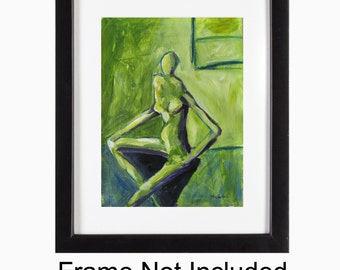 Abstract Figurative Art, Abstract Painting, Print, Abstract Figure, Woman in Green, Female Figure, Figure Painting, Green Home Decor