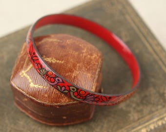 vintage scandinavian enamel bangle red whimsical bird bracelet 1960s finel catherineholm danish modern