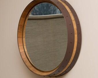 Napa Valley Hammered Copper Wine Barrel Mirror