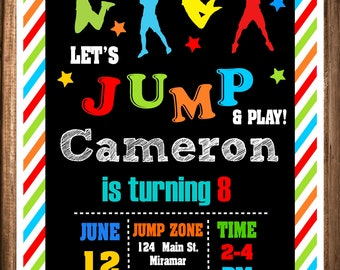 Jump Birthday Invitation, Printable Jump Invites,Trampoline birthday Invitation,Bounce House Invitation, Digital Invitations