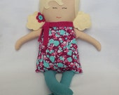 Rag doll, soft doll, cloth doll, handmade doll, gift for a girl, blonde hair, floral dress, polka dots, fast shipping, unique gift