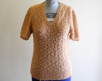 Nubby 70s / 80s texture short sleeve sweater sz. Small / Medium