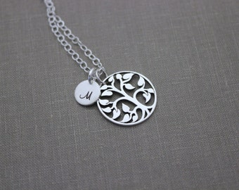 Personalized Sterling silver family tree necklace with multiple custom Initial discs - Grandma necklace -Monograms - Customized Gift for her