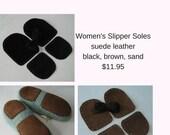 Leather slipper soles for women's slippers - non-slip for knitting crochet felted slippers - brown black sand - fits all women's sizes