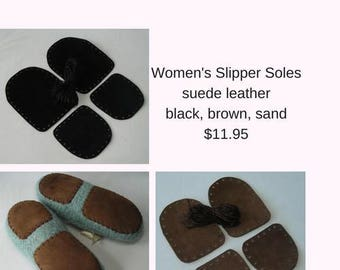 Leather slipper soles for women's slippers - non-slip for knitting crochet felted slippers - brown black sand - fits all women's sizes