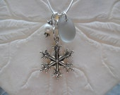 Snowflake Sea Glass Necklace Jewelry Pearl Sterling Beach Pendant