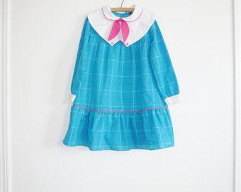Vintage Blue and Pink Girl's Dress