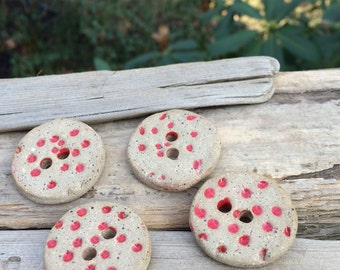 Polka dot buttons Ceramic buttons stoneware button Artisan ceramic red button Large hole button porcelain whimsical button hand woven