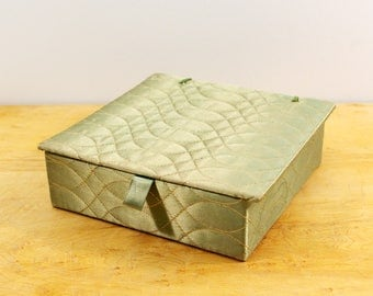 Handkerchief Box, Vintage Olive Green Quilted Hankie Box, Vintage Hanky Box, Green Satin Box, Storage
