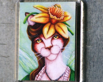 Daffodil Cat Magnet, Spring Flower Fairy Cat Art Fridge Magnet