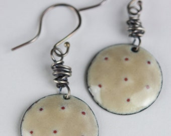 Rustic Enameled Earrings Organic Domed Forged Copper Crackle Finish in Light Brown with Sterling Ear Wires