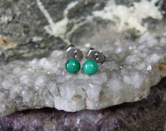 Longer Posts Green Malachite 4mm Round Stud Post Earrings Earings Titanium Ear Post and Clutch Hypo Allergenic