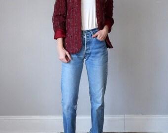 80s cranberry knubby stripe jacket blazer (med)