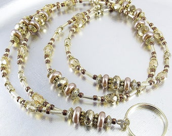 Beaded Lanyard - Gold Fire Polished Glass and Brown Glass Pearl Badge Lanyard, Necklace - Beaded ID Lanyard, Badge Holder