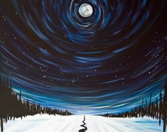 Starry Night Moon Yosemite Painting - Original Painting in Acrylic on Canvas