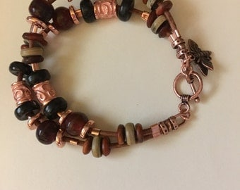 Modern Boho Double Strand Brown Leather Copper (Rose Gold) and Horn Charm Bracelet