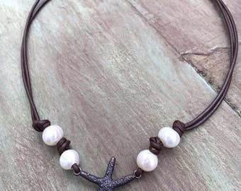 Starfish and Freshwater Pearl Leather Necklace, Pearl Leather Necklace, Pearl Starfish Leather Necklace, Pearl Leather Choker, Starfish