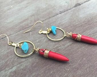 Red Howlite Spike Earrings, Wire Wrapped Spike Earrings, Dagger Earrings, Stick Earrings, Red Turquoise Spike Earrings, Wire Wrapped Spikes