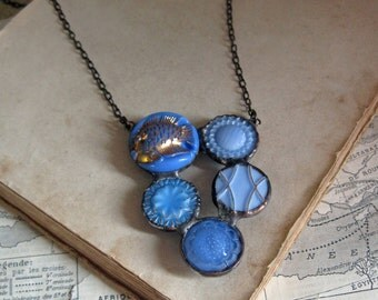 Glass Button Collage Bib Necklace One of a Kind Soldered Jewelry Stained Glass