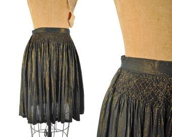 """70s black and gold metallic skirt / sparkly Indian rayon smocked skirt / 1970s hippie striped skirt .. small / 27"""" waist"""