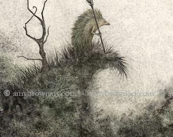 5x7 The Shaman fairy hedgehog PRINT by Amy Brown