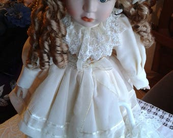 Vintage Porcelain Doll - Porcelain Doll in Fancy Party Dress