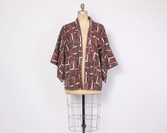 Vintage 60s KIMONO JACKET / 1960s Geometric Print Brown Silk Draped Duster Jacket