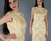 RESERVED - Sequin Soutache Dress Pastel Yellow Dress Bombshell Cocktail Dress 50s Party Dress