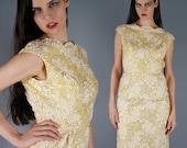 RÉSERVÉ - Sequin Soutache robe Bombshell robe jaune Pastel robe longue robe de Cocktail des années 50