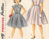 Simplicity 1022 1950s Girls Gored Skirt School Dress with Wide Collar Vintage Sewing Pattern Size 8
