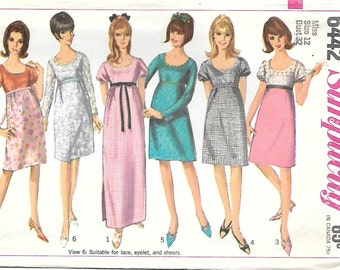 Simplicity 6442 1960s Empire Waist Babydoll Dress Vintage Sewing Pattern Size 12 Mini Maxi Bridesmaid  Bust 32