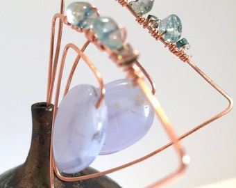 Geometric copper Threader statement earrings with blue lace agate and Wirewrapped blue apatite and blue crystal artisan jewelry