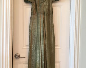 20's Metallic Dress-Green/Gold