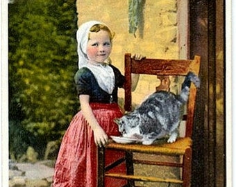Vintage Netherlands Postcard - Little Dutch Girl and Cat in Oost-Souburg, Zeeland (Unused)