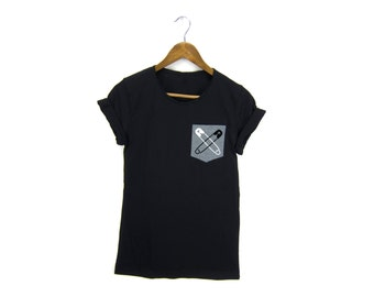 Safety Pin Pocket Tee - Boyfriend Fit Crew Neck #safetypin Tshirt with Rolled Cuffs in Heather Charcoal and Black - Women's M-3XL
