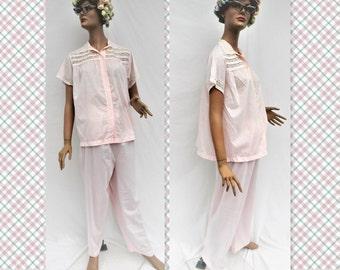 "Vintage 1950's pajama party Vintage Barbizon ""Lazy Doll"" pink pj set- Top size 16, pants size 18"