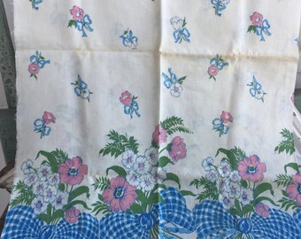 Vintage Feedsack fabric Blue and White Bows with Big pink Flowers