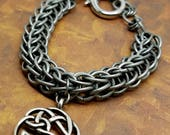 Reserved - Chain Maille Persian Weave Bracelet Celtic Knot Silver Unisex