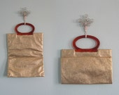 Glam 50s Gold Foil Foldover Handbag - Vintage Metallic Gold Market Bag - Vintage 1950s Bag