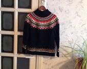 Vintage Wool Nordic Sweater Women's Black Red White Medium M