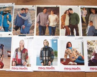 set of 10 vintage knitting patterns men women children