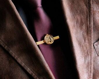 Gold Steampunk Cuff Links Tie clip Set